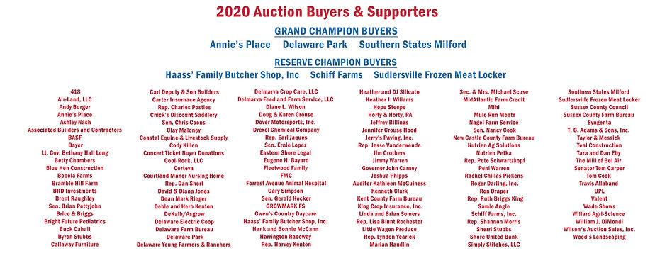 2020 Livestock Auction Buyers Inner Sign