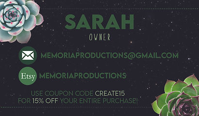 Memoria Productions Business Card FRONT.