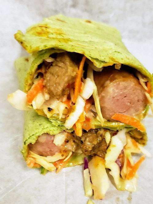 Spinach Wrap Beef & Sausage Shawarma