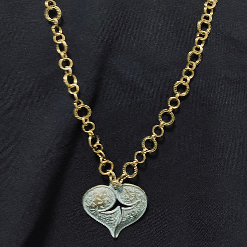 Teal Metal Heart on Long Brass loop chain