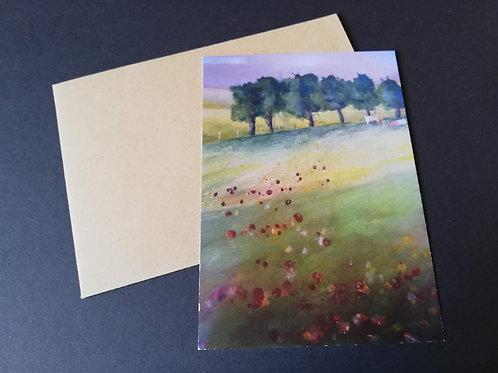 "Carte postale + enveloppe ""Marguerite et coquelicot"""