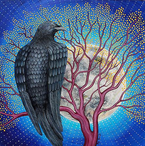 """Crow Moon"" Original Acrylic Painting"