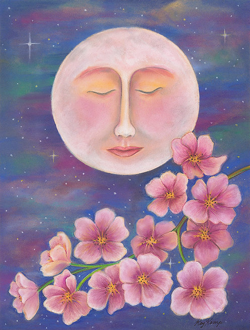 """""""Pink Moon"""" Original Pastel and Colored Pencil"""