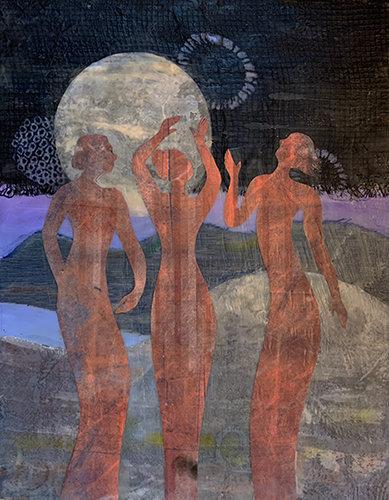 """Moon Dance"" Original Mixed Media Encaustic"