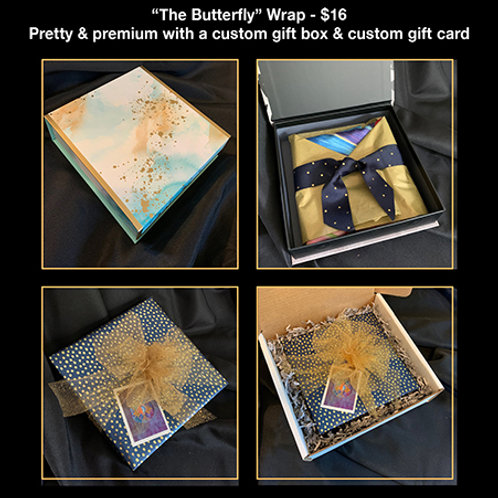 """The Butterfly"" Gift Wrap with Gift Box & Custom Card"