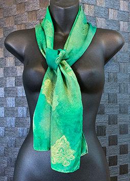 """Grateful Green"" Silk Scarf"
