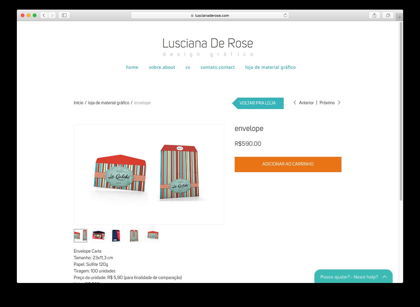 página de uma loja online