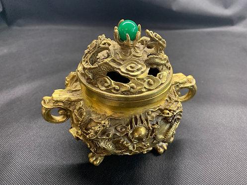 Ornate Small Brass Dragon Bubbler (3)