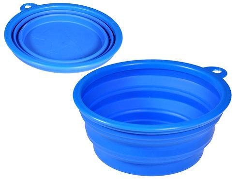 Mangeoire de voyage silicone bleu 17 cm
