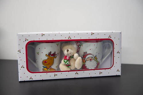 Mugs de Noël blancs + peluche porte clé