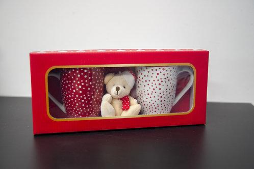 Mugs de Noël rouge & blanc + peluche porte clé