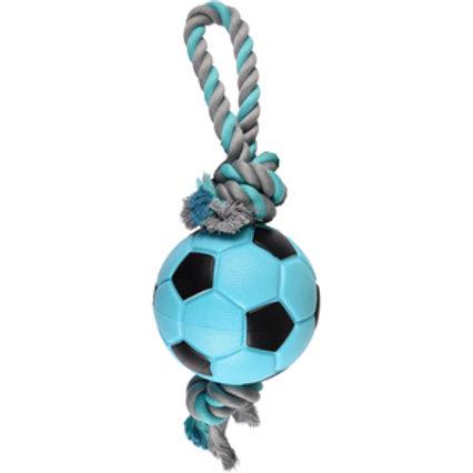 JOUET Chien TPR Sporty Ballon Football + Corde Bleu