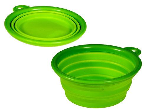 Mangeoire de voyage silicone vert 13 cm