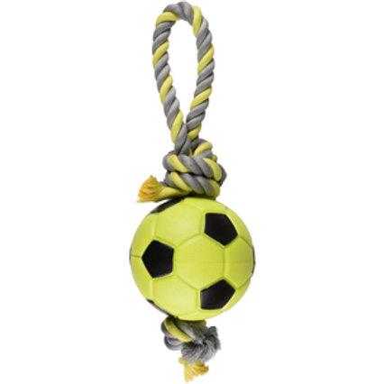 JOUET Chien TPR Sporty Ballon Football + Corde Vert