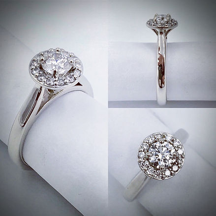 Halo Style Engagement Ring in 14K White Gold and Diamonds