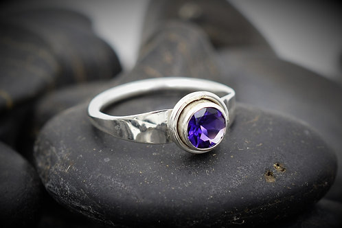 Forged Flare Amethyst Ring in Sterling Silver