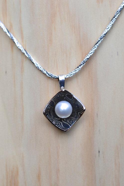 Mokume Gane & White Pearl Pendant