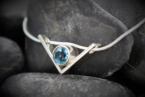 Floating V Pendant with Swiss Blue Topaz in Sterling Silver