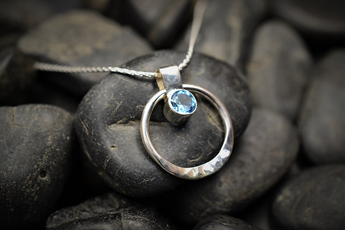 Circe of Life Pendant in Sterling Silver & Blue Topaz