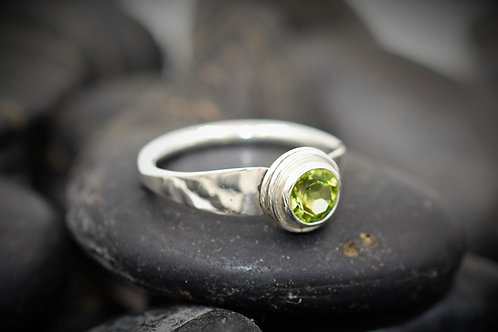 Forged Flare Peridot Ring in Sterling Silver
