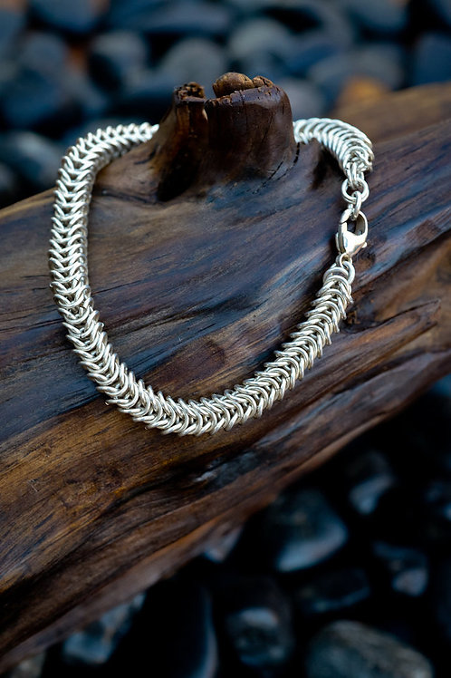 Box Link Chainmaille Bracelet in Sterling Silver