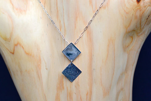 Contrasting Squares Pendant in Sterling Silver
