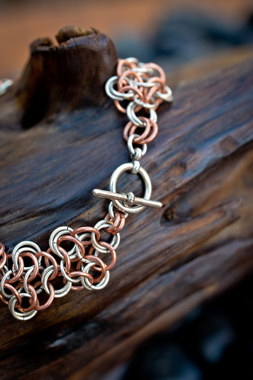 Chainmaille Rosette Bracelet in Copper & Silver