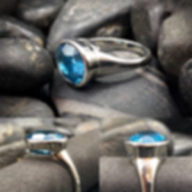 Custom Ring in 14K White Gold and Blue Topaz