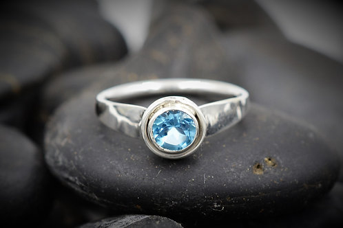 Forged Flare Swiss Blue Topaz Ring in Sterling Silver