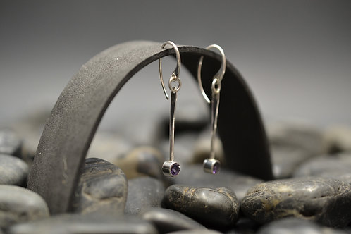 Gemstone Flare Earrings with Amethyst