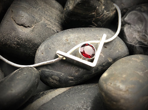 Floating V Pendant with Garnet in Sterling Silver