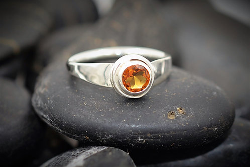 Forged Flare Citrine Ring in Sterling Silver