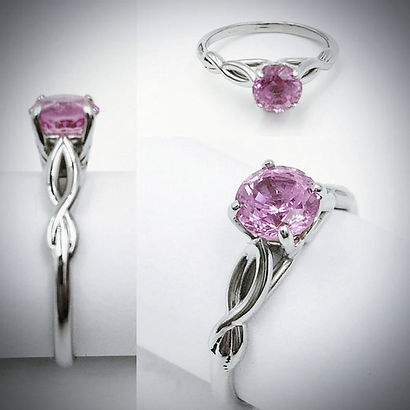 Engagement Ring in 14K White Gold and Pink Sapphire