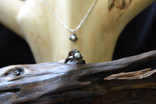 Square Ring with Black Pearl in Sterling Silver