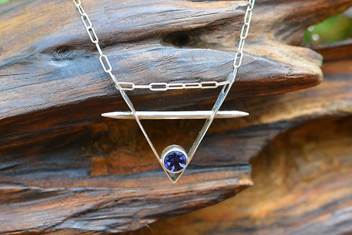 V & Taper Pendant with Iolite in Sterling Silver