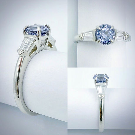 Engagement Ring in 14K White Gold with Spinel and Diamond Accents