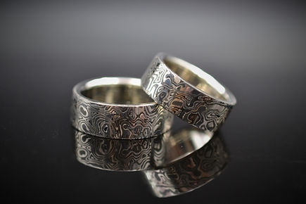 14K Palladium White Gold and Sterling Silver Mokume Gane Wedding Bands