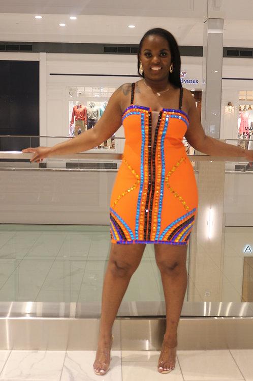 Jasmine  Orange Multicolored  Rhinestone  Bandage Mini  Dress