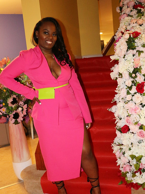 Agatha Pink Skirt Suit with Yellow Bag Belt