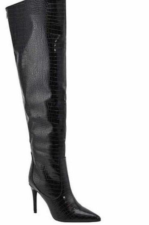Viola Croc Print Over The Knee Stiletto Boot.