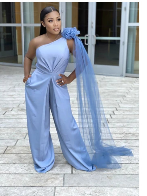 Wandia One Shoulder W/Tulle Brooche Satin Jumpsuit