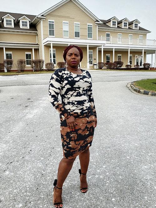 Jessica Round Neck 2 tone tie dye  long sleeve midi dress
