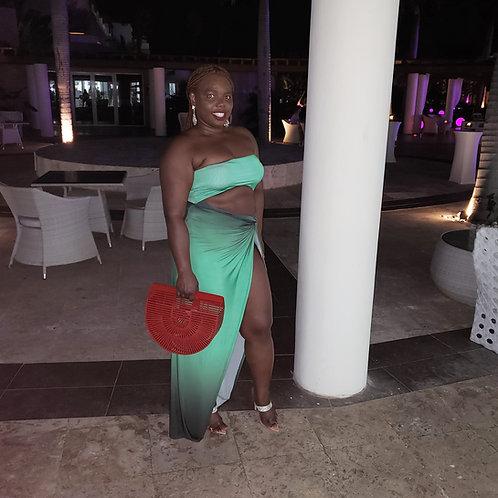Nicki Front Split Emerald Dress