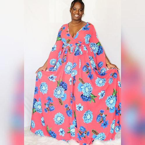Floral maxi chiffon maxi dress with full lining