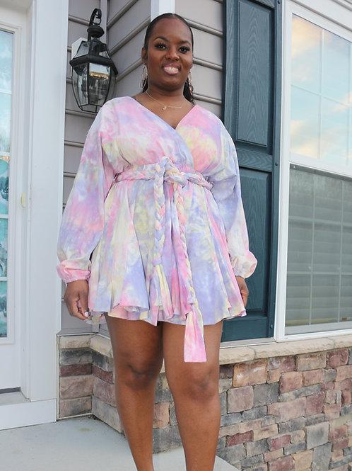 Make it work Pink Tie-Dye Surplice Skater Dress.
