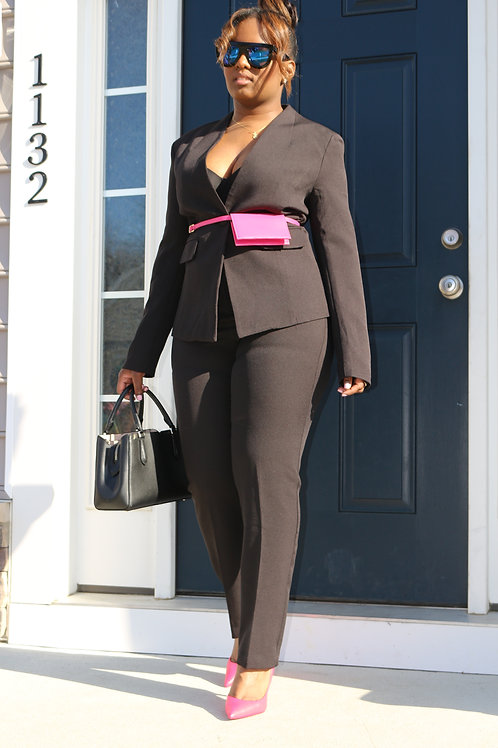 Bossy Black Pant Suit with leather Clutch belt
