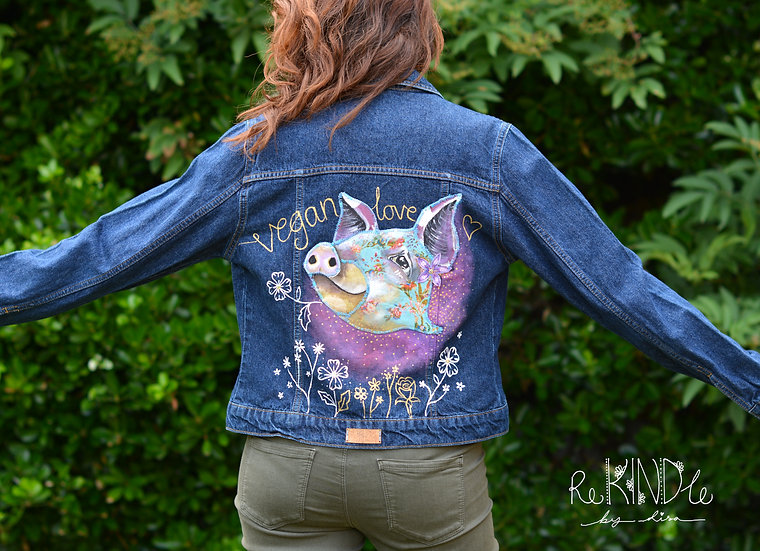 Hand painted, embellished Size UK 8 Vegan Pig Jacket
