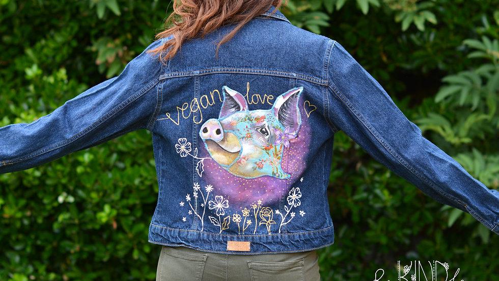 Hand painted, embellished Size UK 8 Vegan Pig Jacket