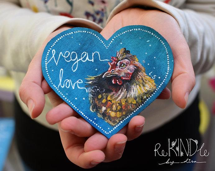 Hand Painted Vegan Chicken Sew On Patch 'Vegan Love'