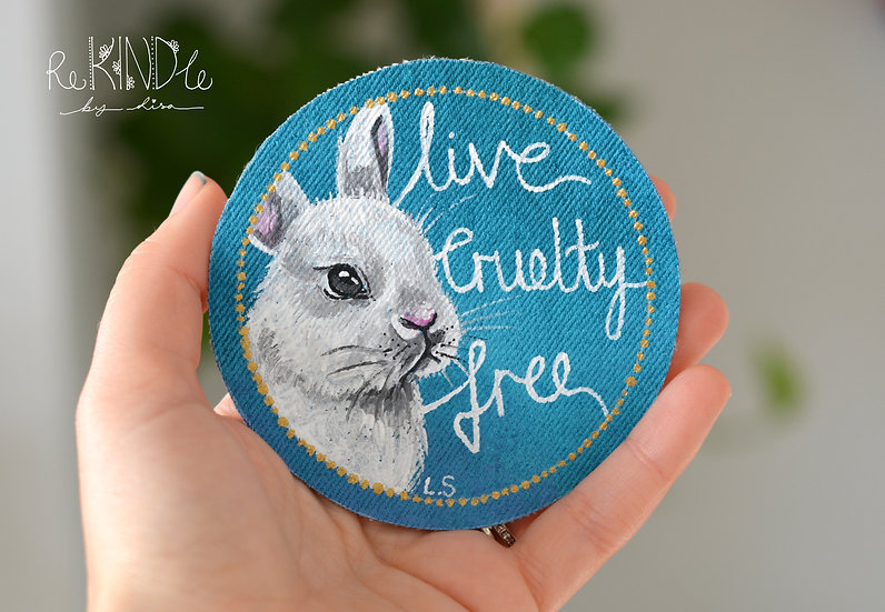 Hand Painted Vegan Sew on Patch Bunny